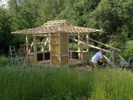 Gazebo under constructiion June 2015. Build from roughsawn ash.